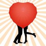kärlekshistoria för trädgårds- flicka för pojke kyssande royaltyfri illustrationer