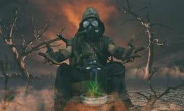 Kärn- begrepp för stolpeapokalypsöverlevande arkivfoton