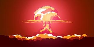 kärn- explosion Retro affisch för tecknad film Champinjonmoln också vektor för coreldrawillustration Fotografering för Bildbyråer