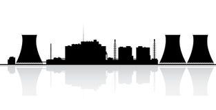 Kärn- kraftverkSilhouette vektor illustrationer