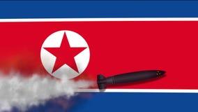 Kärn- missil på bakgrundsflaggan av Nordkorea vektor illustrationer
