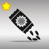 Kärna ur det högkvalitativa svarta begreppet för symbolet för symbolsknapplogoen Stock Illustrationer