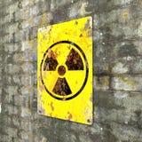 K?rnkraftsanl?ggning tecken som h?nger p? en tegelstenv?gg Indikering av n?rvaron av ett radioaktivt omr?de vektor illustrationer