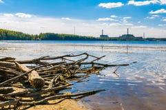 Kärnkraftverk på kusten royaltyfri bild