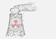 Kärnkraftverksymbolsformen fodrar, trianglar och partikelstildesignen Arkivbild
