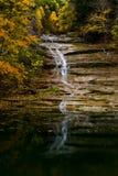 Kärnmjölk faller - Autumn Waterfall - Ithaca, New York Royaltyfri Foto