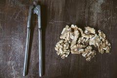 Kärnor av valnötter och nötknäpparen Arkivfoto