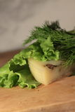 Käse auf einem Blatt des Salats Stockbild