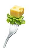 Käse auf einer Gabel Lizenzfreies Stockbild