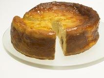 Käse backte Kuchen mit Aprikosenstau und -rosinen Stockbild