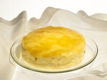 Käse backte Kuchen mit Aprikosenstau und -rosinen Lizenzfreie Stockbilder