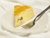Käse backte Kuchen mit Aprikosenstau und -rosinen Stockfotografie