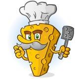 Käse-Chef Cartoon Character mit dem Schnurrbart, der eine Spachtel hält lizenzfreie abbildung