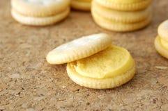 Käse-Cracker-Snäcke Makro Stockfoto