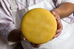 Käse in den Händen Lizenzfreies Stockfoto
