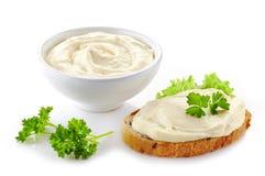 Käse des Brotes mit Sahne Lizenzfreie Stockbilder