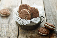 Käse des Schokoladenplätzchen-Zobels mit Sahne Stockfoto
