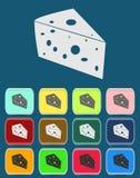 Käse-Ikone mit Farbveränderungen, Vektor Stockfotografie
