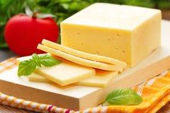 Käse mit Basilikum und Gemüse Stockbilder