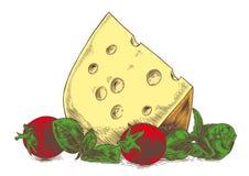 Käse mit Gemüse stock abbildung