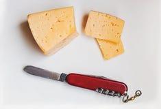Käse mit Messer auf einem Schneidebrett Lizenzfreie Stockfotografie