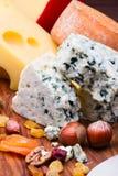 Käse mit Trockenfrüchten und Nüssen stockfoto