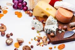 Käse mit Trockenfrüchten und Nüssen lizenzfreie stockfotos