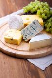 Käse mit weißen Trauben Lizenzfreies Stockfoto