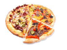 Käse-Pizza mit weißem Hintergrund, Stockbild