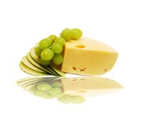 Käse, Traube und Birne Stockfotografie