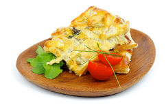 Käse und Grün-Torte stockfotos