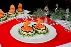 Käse und Lachse des Sandwiches mit Sahne Stockfoto