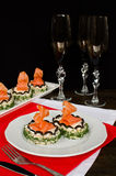 Käse und Lachse des Sandwiches mit Sahne Lizenzfreie Stockfotos
