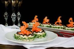 Käse und Lachse des Sandwiches mit Sahne Lizenzfreies Stockfoto