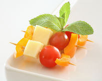 Käse- und Schätzchentomateimbiß Lizenzfreies Stockfoto