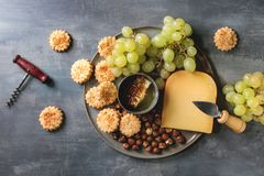 Käse und Traubenaperitif lizenzfreies stockfoto