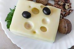 Käse und Walnüsse auf einer Platte Lizenzfreies Stockbild