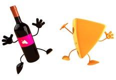 Käse und Wein stock abbildung
