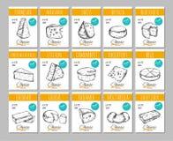Käse Vector Hand gezeichnete Fahnen, Aufkleber mit verschiedenen Arten des Käses Mozarella, Gouda, Parmesankäse usw. vektor abbildung