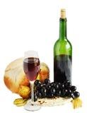 Käse, Wein und Brot stockbild