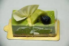 Käsekuchen des grünen Tees Traditionell, geschmackvoll stockbilder