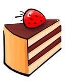Käsekuchen mit Erdbeere, Illustration lokalisiert auf weißem Hintergrund lizenzfreie abbildung