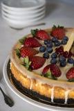 Käsekuchen mit Erdbeeren und Blaubeeren lizenzfreies stockbild