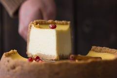 Käsekuchen mit Sauerrahmbelag und frische Saisonbeeren und Nüsse mit einer Scheibe herausgenommen Stockbild