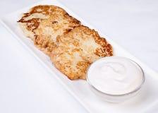 Käsekuchen mit saurer Sahne Yummy Nachtisch Stockfotografie
