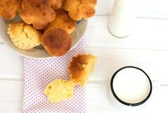 Käsekuchen und eine Flasche Milch Lizenzfreie Stockbilder