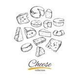 Käsesammlung Gezeichnete Illustration des Vektors Hand von Käsearten lizenzfreie abbildung