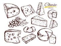 Käsesammlung Gezeichnete Illustration des Vektors Hand von Käsearten Lizenzfreies Stockbild
