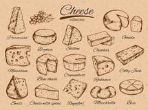 Käsesammlung Gezeichnete Illustration des Vektors Hand von Käsearten bunt lizenzfreie abbildung