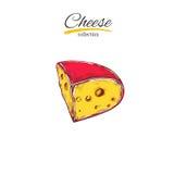 Käsesammlung Gezeichnete Illustration des Vektors Hand von Käsearten bunt Stockfotos